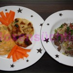 Sellerieschnitzel und Kartoffelstampf mit Kräutern und Glasnudelsalat mit Hackfleisch